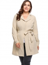 Khaki Open Front Long Sleeve Warm Drawstring Windbreaker