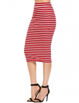 Red Femmes Casual Elastic Waist Package Hip Striped Sexy Skirt