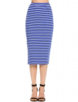 Royal Blue Stripes Elastic High Waist Package Hip Skirt