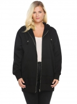 Black Hooded Solid Fleece Hoodie with Pocket Plus Size
