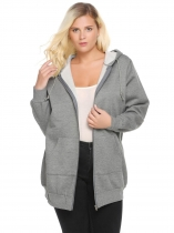 Gray Hooded Solid Fleece Hoodie with Pocket Plus Size