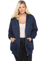 Navy blue Hooded Solid Fleece Hoodie with Pocket Plus Size