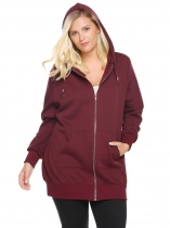 Wine red Hooded Solid Fleece Hoodie with Pocket Plus Size