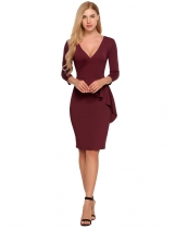 Wine red Surplice Neck Solid Peplum Bodycon Dress
