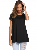 Black Lace Patchwork Short Sleeve Long Loose Tops
