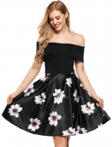 Femmes Vintage sans manches Patchwork Off Shoulder Party Swing Dress