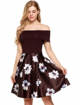 Brown Sleeveless Patchwork Off The Shoulder Swing Dress