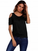 Black Solid Ruched O Neck Cold Shoulder Short Sleeve Top