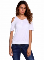 White Solid Ruched O Neck Cold Shoulder Short Sleeve Top