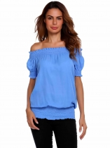 Blue Elastic Off the Shoulder Solid Short Sleeve Chiffon Tops