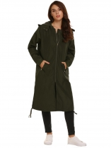 Army green Solid Zipper Pocket Hooded Drawstring Coat