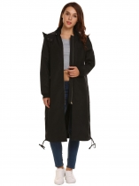 Black Solid Zipper Pocket Hooded Drawstring Coat