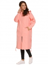 Pink Solid Zipper Pocket Hooded Drawstring Coat