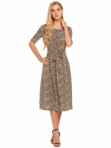 Coffee Half Sleeve Leopard Print O Neck Belted Dress