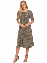 Dark brown Half Sleeve Leopard Print O Neck Belted Dress