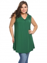 Army green Plus Size V-Neck Sleeveless Solid Long Tank Top