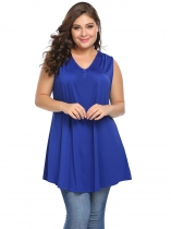 Blue Plus Size V-Neck Sleeveless Solid Long Tank Top