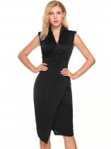 Black Sleeveless Padded Shoulder Solid Bodycon V Neck Pencil Dress