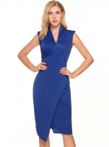 Blue Sleeveless Padded Shoulder Solid Bodycon V Neck Pencil Dress