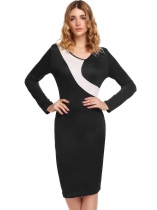 Black Long Sleeve Contrast Color Bodycon Dress