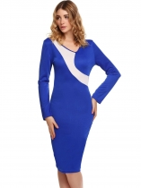 Blue Long Sleeve Contrast Color Bodycon Dress