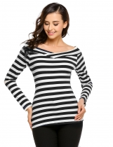 Black Off the Shoulder Long Sleeve Striped Slim Fit Tops