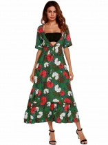 Green Floral Plunging Neck Beach Maxi Dress