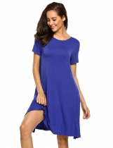 Blue Lace Up Back Hollow Solid Loose Fit Dress