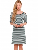 Green Cut Out Criss Cross Sleeve Striped A-Line Dress