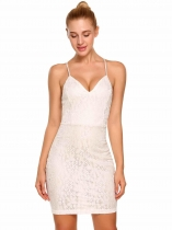 White Sleeveless Spaghetti Strap Solid Pencil Mini Dress