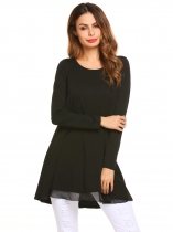 Black Long Sleeve O Neck Loose Chiffon Patchwork Tunic Top