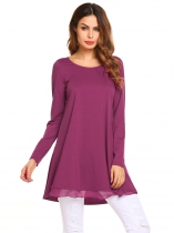 Purple Red Long Sleeve O Neck Loose Chiffon Patchwork Tunic Top