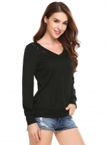 Black Lace Patchwork V Neck Slim Ramona Pullover Sweaters
