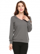 Grey Lace Patchwork V Neck Slim Ramona Pullover Sweaters