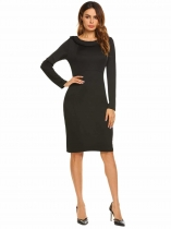 Negro Negro Mujeres Peter Pan Collar de manga larga Sólido Bodycon Work Party Pencil Dress
