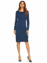 Navy blue Bleu marine Femme Peter Pan Collar à manches longues Solid Bodycon Work Party Pencil Dress