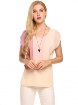 Pink Contrast Color Layers Cap Sleeve Round Neck Chiffon Blouse