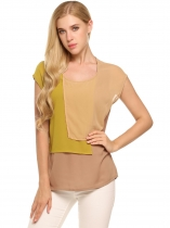 Brown Contrast Color Layers Cap Sleeve Round Neck Chiffon Blouse