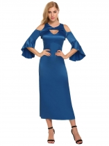 Dark blue Women Casual Solid Cold the Shoulder Front Hollow Out Package Hip Long Party Sexy Dress