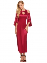 Wine red Women Casual Solid Cold the Shoulder Front Hollow Out Package Hip Long Party Sexy Dress