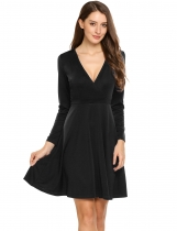 Noir Women Elegant Crossover Wrap V-Neck à manches longues Solid Fit et Flare Dress