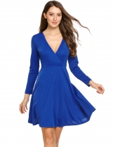 Royal Blue Women Elegant Crossover Wrap V-Neck à manches longues Robe Fit et Flare