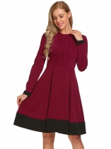 Wine red Vintage Style Long Sleeve Pleated Patchwork Dress