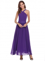 Purple Femmes Casual Halter sans manches Froid à l'épaule Solid A-Line plissé Swing Long Dress