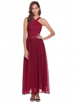 Wine red Sleeveless Backless Solid Long Dress