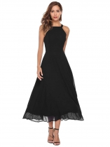 Black Sleeveless Back Hollow Out Pleated Solid Dress