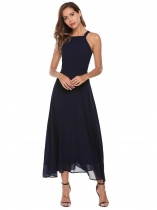 Dark blue Sleeveless Back Hollow Out Pleated Solid Dress