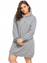 Gray Plus Size Long Sleeve Solid Pullover Loose Hoodie