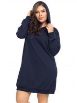 Navy blue Plus Size Long Sleeve Solid Pullover Loose Hoodie