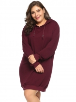 Wine red Plus Size Long Sleeve Solid Pullover Loose Hoodie